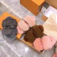 Pantoufles fourrure à visser à vison à vison chauds de coton de coton mode dames minks slides chaussures avec boîte grande taille 35-42