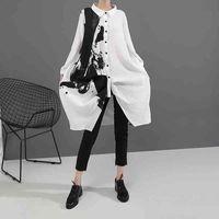 Kore tarzı kadın uzun kollu beyaz baskı gömlek elbise boyama artı boyutu düz kızlar rahat midi gevşek robe femme mürekkep püskürtmeli rastgele