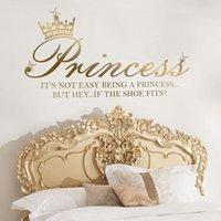 Wall Stickers Cartoon Princess Crown Shoe Star Sticker Girl Room Nursery Inspirational Motivational Quote Decal Playroom Decor