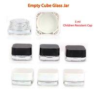 Стеклянные бутылки барабанчаки для барабанчаки вексосский масляный контейнер устойчивый к ребенку 5 мл прозрачный куб с черной или белой крышкой