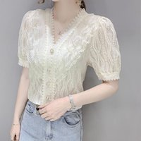 Women's Blouses & Shirts French Style Short Sleeve Shirt Hollow Lace Solid Color Top 2021 Summer Women Clothing Blusas Mujer De Moda
