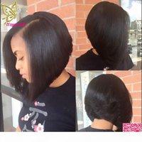 짧은 밥 U 부분 가발 인간의 머리카락 실키 스트레이트 브라질 인간의 머리카락 upart 가발 밥 왼쪽 부분 흑인 여성용 가발
