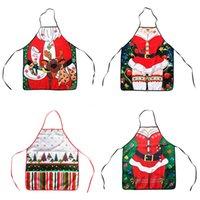Parti Malzemeleri Noel Mutfak Önlük Baskılı Önlükler Komik Pinafore Noel Baba Elk Pişirme Pişirme Ev Temizleme Önlükleri GWB8893