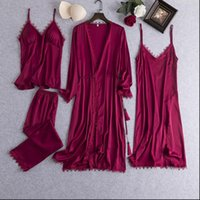 Pajamas 4 Pcs Pajams Women Sleepwear Set Satin SIlk Sexy Home Clothes Summer Female Thin Long Sleeve Pyjamas Suit