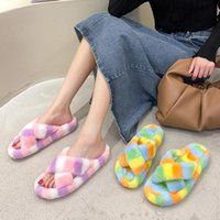 Slippers Winter Mixed-Color House Women Fur Rainbow Color Bedroom Girls Plush Shoes Open Toe Indoor Ladies Furry