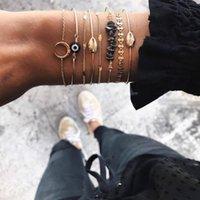 Bohemian سوار مجموعة الذهب اللون ستون الخرزة خمر الرصاص اليدوية المنسوجة ل صودينة vsco الفتيات مجوهرات مطرز، خيوط