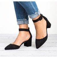 Dress Shoes Factory Direct Low Heels Sandals Women Ankle Strap Summer Female Plus Size 43 Block 2021 Casual