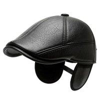 Berets Men Pu Leather Baseball Cap Sheep Beret Sboy Belt Black Hunting Hats 2021 Fashion