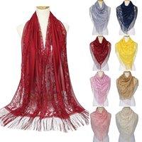 190cm Women Elegant Luxury Thin Lace Shawls Scarf For Ladies Muslim Islamic Tassel Lace Hollow Long Hijab Scarf Shawl Wrap Stole