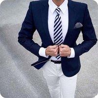 맞춤형 한 버튼 Groomsmen 노치 옷깃 신랑 턱시도 남성 정장 결혼식 / 댄스 파티 / 저녁 맨 블레이저 (자켓 + 바지 + 넥타이) Y529