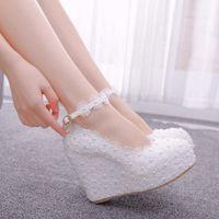 Dress Shoes Wedges Wedding Pumps Sweet White Flower Lace Pearl Platform Bride High Heels GIWC