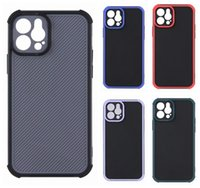 Carbon Fiber Shockproof Cases For IPhone 12 Pro Mini 11 XR X XS MAX 10 8 7 Plus Vertical 2 in 1 Hard PC TPU 2in1 Hybrid Dual Contrast Color Fine Hole Bumper Phone Back Cover