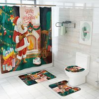 Bath Accessory Set 4Pcs Christmas Trees Printed Shower Curtains For Bathroom Bathing Screen With Anti-slip Mat Carpet Toilet Partition Home
