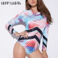 Abiti di un pezzo Appyshark Costume da bagno professionale 2021 Sport Surf Suit One Piece Striped Back Zipper Zipper Quick Dry Bathing