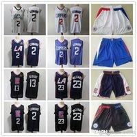 HerrenLosAngelesKlipperRückgang von Jersey Kawhi 2 LeonardLou 23 Williams Basketball Shorts Basketball Jersey Navy Blue