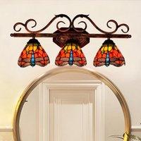 Retro vermelho libélula tiffany manchado banheiro espelho espelho Americano estilo corredor barra três lâmpada de parede cabeça