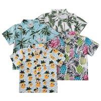 Erkek Bebek T Gömlek Yaz Tropikal Bohemia Kısa Kollu Palm Ananas Baskılı Çocuk Yaka Gömlek Ile 54 Z2