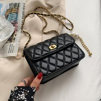 Shoulder Bags Pearl Chain Designer Pu Leather Flap Crossbody For Women 2021 Summer Fashion Small Quilted Handbags And Purses