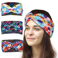 Colorful Floral Print Hairbands Knot Cross Hair Headband Gym Yoga Sport Sweat Stretch Sport Wrap Bands for Women 537 Z2