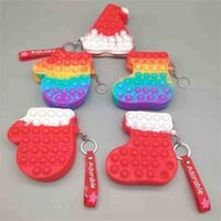 5PCS Christmas Stocking Hat Glove Shape Fidget Purses Wallet Popet Push Bubble Popper Board Toy Key Chain Keyrings with Lanyard Santa Coin Bag Zipper Pouch G10EN1J