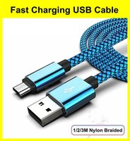 Micro USB Cables Fast Nylon Braided Charging Data Cable For Samsung Xiaomi LG Android Type-C Cord