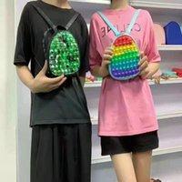 Decompression toy sensory fashion school student backpack Fidget Toys push bubble rainbow tie-dye anti-stress puzzle children adult surprise pops wholesale
