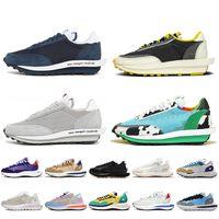 Fragment Design Nike Sacai Waffle LDV Vaporwaffle حذاء رجالي كاجوال أزرق فارغ وولف رمادي مكتنزة أحذية رياضية للركض تسمح بمرور الهواء