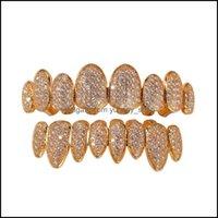 Grillz, Dental Jewelryiced Out 14K Gold Grills Crystal Teeth Top Bottom Diamond Grillz Hip Hop Bling Cubic Zircon Rapper Body Jewelry Drop D