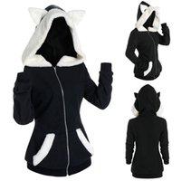 Unisex Long Sleeve Cosplay Cat Ear Faux Fur Zipper Hoodie Sweatshirt Harajuku Hoodies Girls Gothic Sweatshirts Tops Pullovers