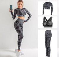 Diseñador de marca de alta calidad Trajes de yoga de algodón para mujer Traje de yoga de manga larga Ropa deportiva Fitness Gymshark Deporte Juego de tres piezas 3pcs Outfits BRA 03