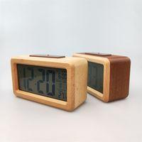 Ahşap Dijital Çalar Saat, Snooze Tarih Sıcaklık Saati ile Sensör Gece Işık LED İzle Masa Duvar Saatleri 1989 V2