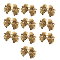 10Pcs Lot Vintage Ginkgo Leaf Napkin Buckle Ring Forest Series Wedding Rings