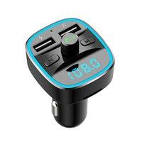 Bluetooth 5.0 Комплект автомобилей Adapter Kit FM-передатчик Беспроводной радио Музыкальный плеер автомобили наборы синий круг окружающий свет Dual USB порты зарядные руки бесплатные звонки