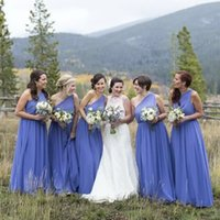 Light Blue Bridesmaid Dresses Plus Size 2022 Chiffon One Shoulder Floor Length Custom Made Maid of Honor Gown Ruched Country Wedding Party Gowns vestidos