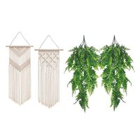 Decorative Flowers & Wreaths 2 Pcs Macrame Wall Hanging Decor Woven Art Tapestry Artificial Plant Ivy Decoration