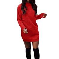 Sonbahar Kış Kadın Casual Kısa Elbiseler Uzun Kollu O-Boyun Çekin Femme Katı Renk Gevşek Kazak Mini Kalın Sıcak