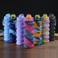 Creative Camuflaje Botella de agua Botella de silicona Pliegue Telescópico Mosquetón Mosquetón Sports Bebidas Tazas Portátiles Senderismo Camping Equipamiento FY4515