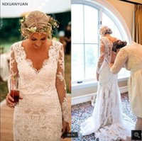 2021 Latest style Summer white Lace Wedding Dress appliques Long Sleeves Garden Bridal Gowns V-Neck mermaid Sexy Vestidos De Novia Marriage Reception dresses