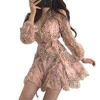 Женщины Mini платье весна V-образным вырезом цветочный шифон высокая талия вспышка рукава женская женщина Karolyidora KA88 210623