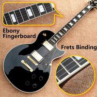 Commercio all'ingrosso di alta qualità LP Personalizzato Shop Black Color Chitarra elettrica Ebano Fretboard Binding Frets Golden Hardware