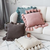 Pillow Case Nordic Style With Tassle For Sofa Bed Room Home Decorative 50*50cm Knitted Cushion Cover Solid