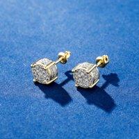 Высочайшее качество меди циркон гвоздики женщины мужчины круглые серьги золотые серебряные подарок для любви хип хмель ювелирные изделия 966 B3