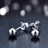 Other Real Pt950 Platinum Earrings Women Luck Smooth Ball Stud 3mmW 5mmW 7mmW Gift