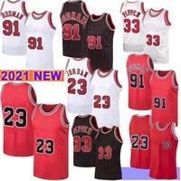 2021 كرة السلة الجديدة جيرسي شيكاغوBull Mens 23 Michael MJ Scottie 33 Pippen Mesh Retro Dennis 91 Rodman Youth Kids Zach 8 Lavine