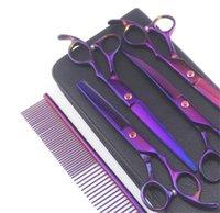 "7 ""Purple Professional 6 Pz / PET Grooming Forbici forbici Kit Dog Capelli Curvi Trimmer Pet Hairdressing Accessori per la bellezza 1473 V2"
