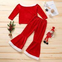 kids Clothing Sets girls Christmas Golden velvet outfits children off shoulder Tops+Flared pants 2pcs set Spring Autumn fashion baby Xmas red Clothes