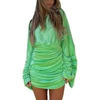 Casual Dresses Women Simple Style Dress, Female Daily Solid Color Close-fitting Round Collar Long Sleeve Loose , Green  Champagne