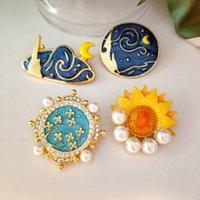 Peinture à l'huile Sunflower Moon Cercle Broches Pinches pour Pull Cowboy Knapsack Hat Badge Imitation Perle Broche Géométrique Broche Bijoux en gros