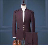 가장 저렴한 신랑 턱시도 Burgundy Groomsmen 중국어 마오 정장 스탠드 칼라 최고의 남자 정장 결혼식 남자 정장 신랑 (재킷 + 바지 + 조끼)