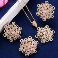 Ohrringe Halskette Godki Luxus Blume Ring Ohrring Sets Kubikzircon Kristall CZ Schmuck Für Frauen Hochzeit Braut Set
